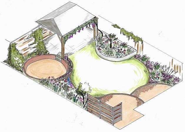 tuinontwerp isometrie ruimtelijke tekening