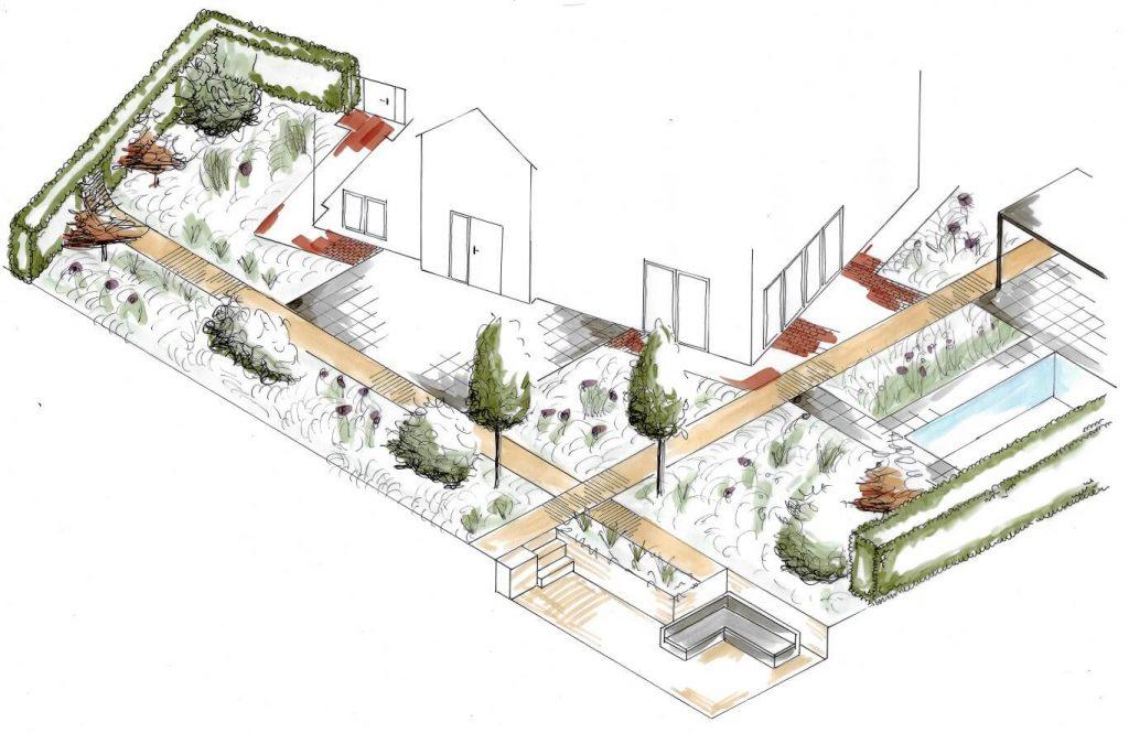 tuinontwerp isometrie ruimtelijke tekening Beuningen hovenier