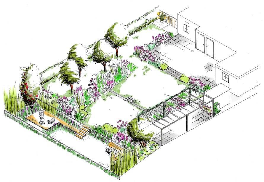 tuinontwerp isometrie ruimtelijke tekening tuin