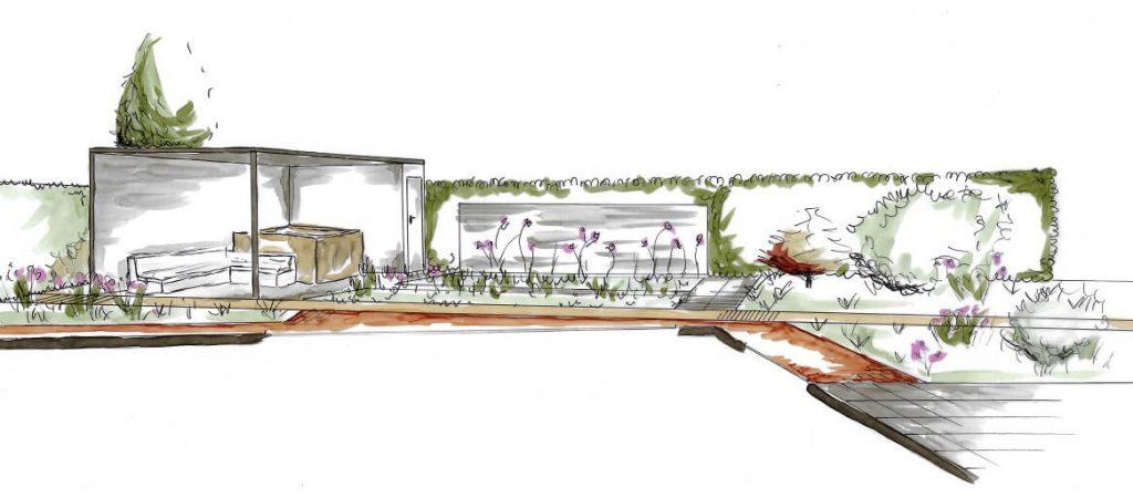 tuinontwerp perspectief tekening tuin tuinarchitect