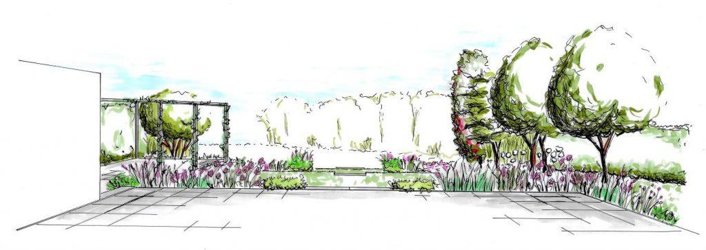 tuinontwerp perspectief tekening tuin uitzicht