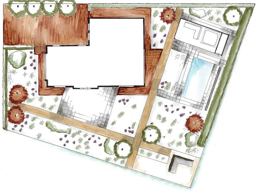 tuinontwerp plattegrond Beuningen Nijmegen tuinarchitect