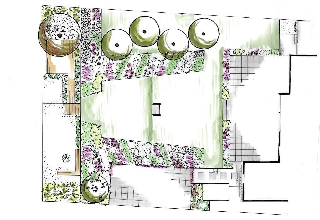 tuinontwerp plattegrond tekening tuin