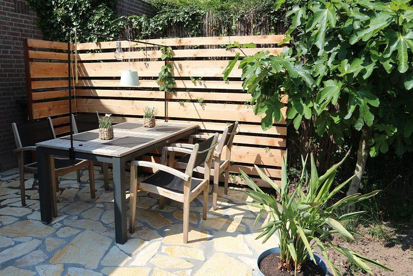tuinontwerp terras houten schutting