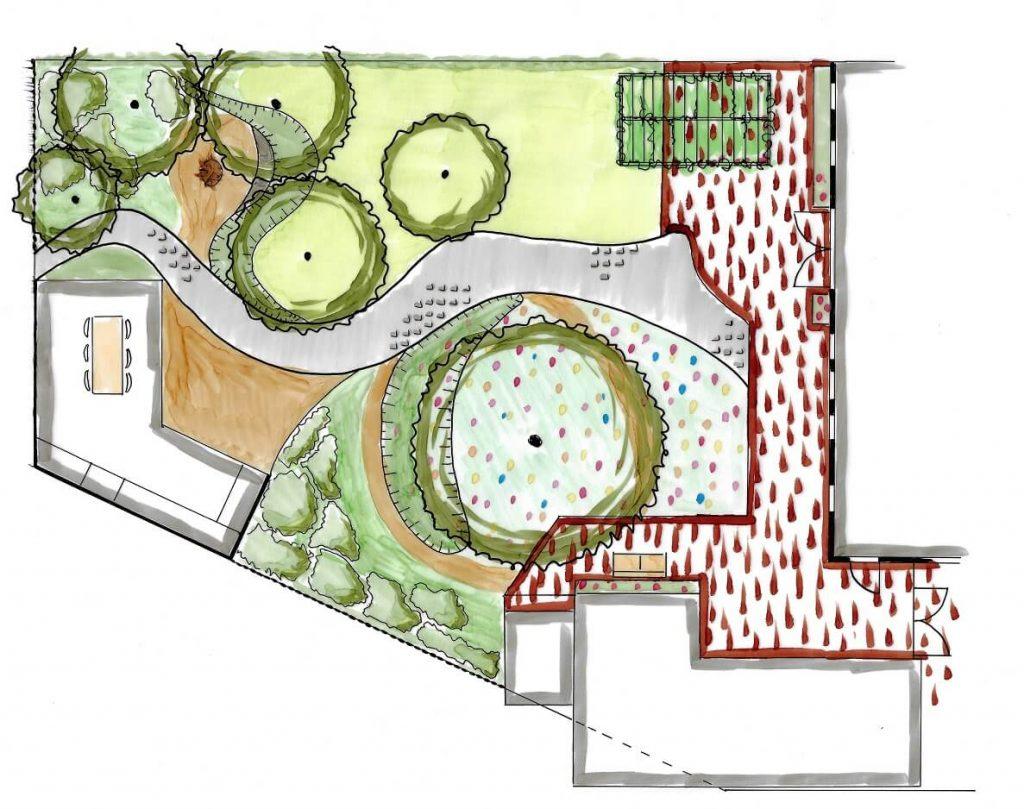 tuinontwerp tuinarchitect Nijmegen plattegrond