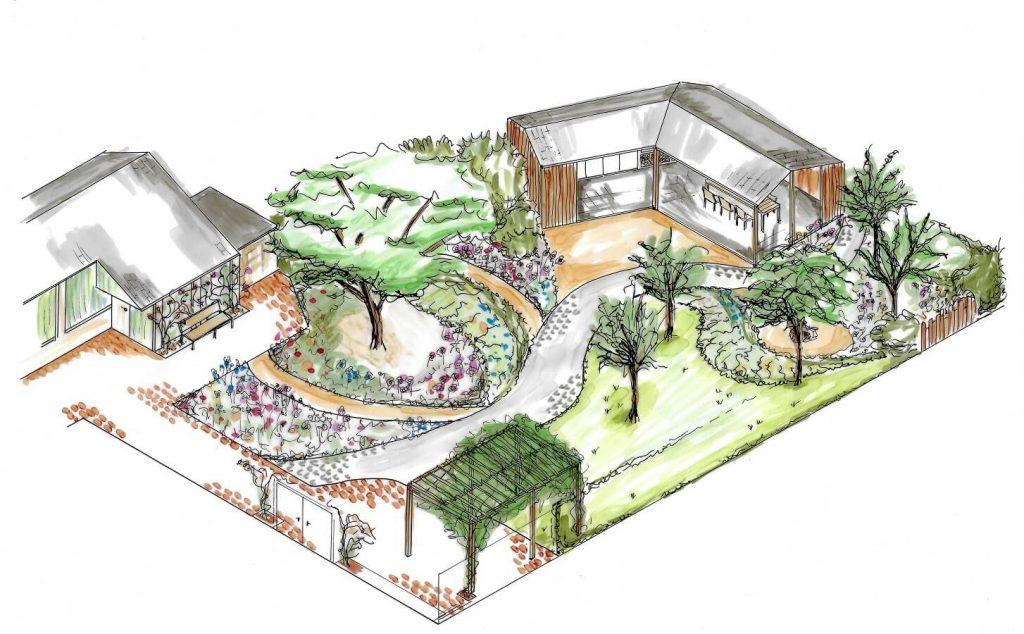 tuinontwerp tuinarchitect ruimtelijke tekening isometrie