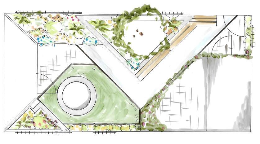 tuinontwerp Wijchen Nijmegen tuinarchitect plattegrond